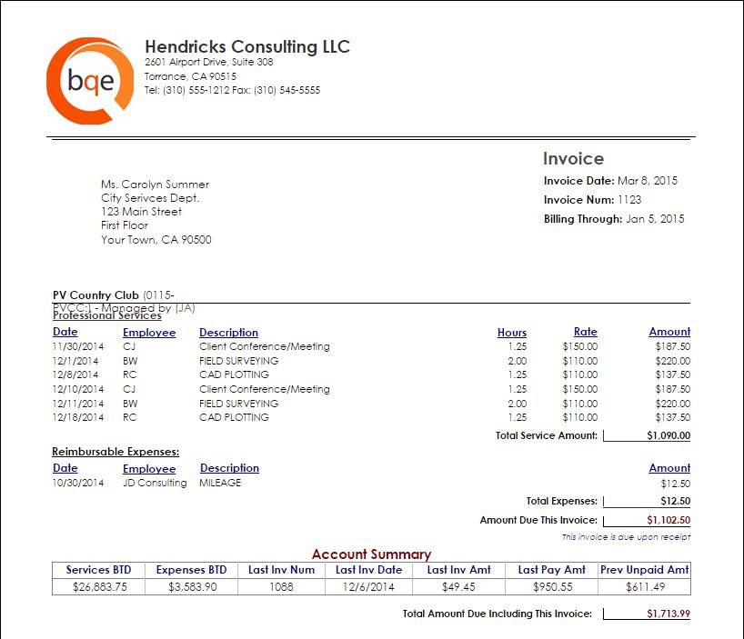 billquick online features, Invoice examples