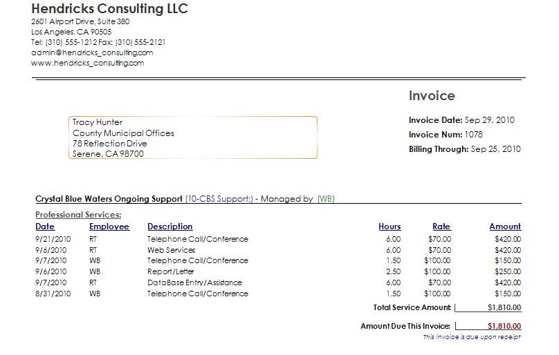 how to create an invoice for hours worked